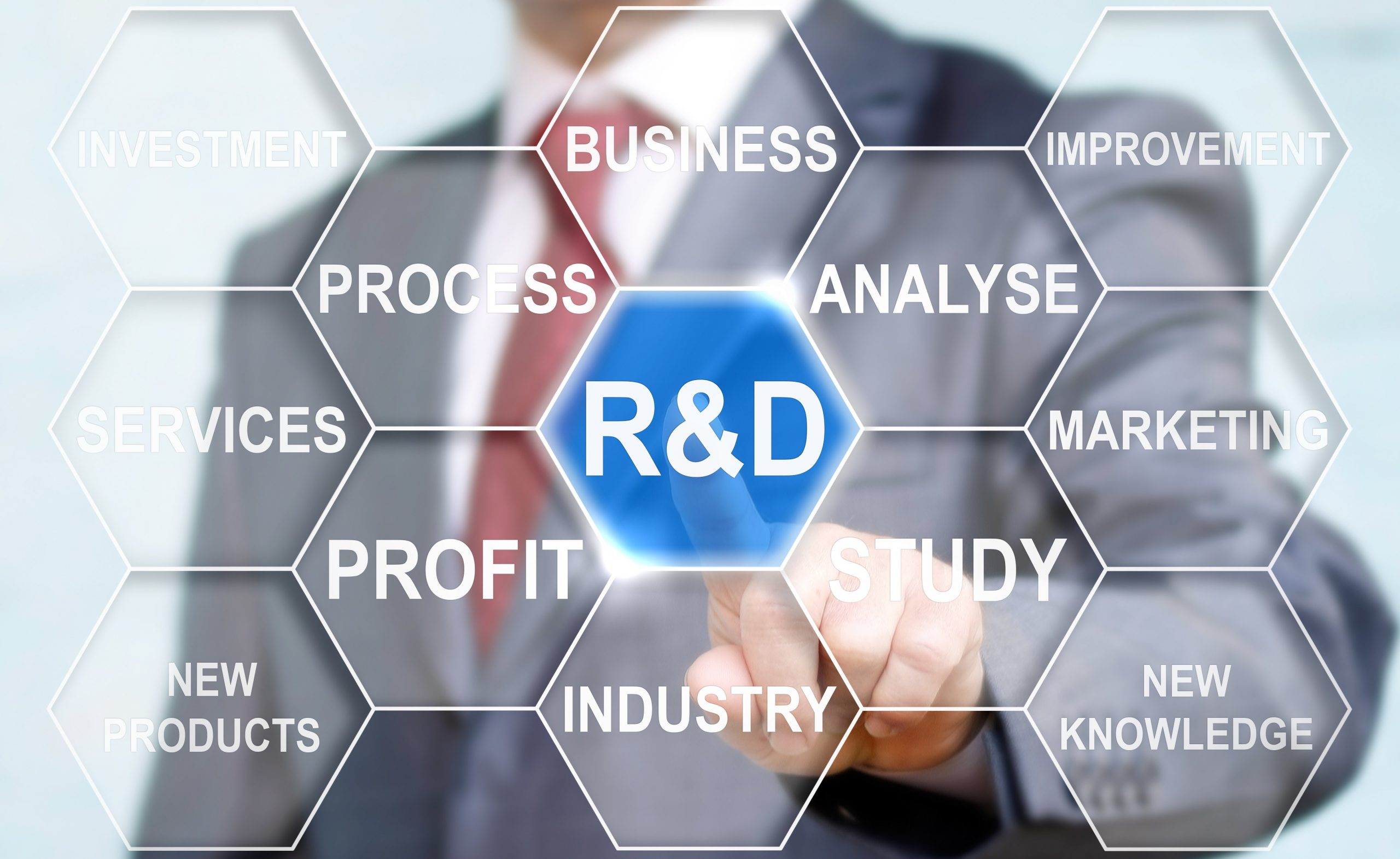 Businessman touched r and d sign. R d icon network business concept word cloud background tag. R&D: Research and development word lettering typography design illustration with line icons and ornaments